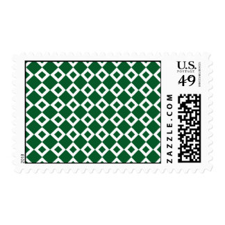 Green and White Diamond Pattern Postage Stamps