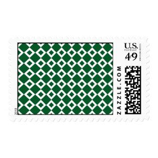 Green and White Diamond Pattern Postage