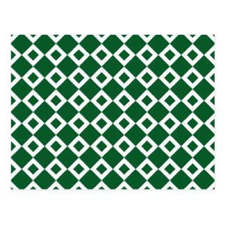 Green and White Diamond Pattern Postcard