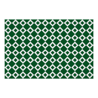 Green and White Diamond Pattern Poster