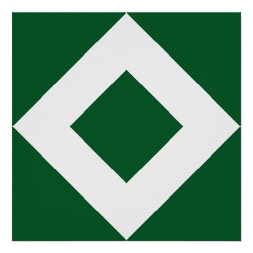 Green and White Diamond Pattern Posters