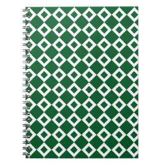 Green and White Diamond Pattern Spiral Notebook
