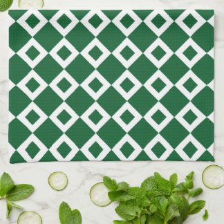 Green and White Diamond Pattern Towels