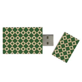 Green and White Diamond Pattern Wood Flash Drive