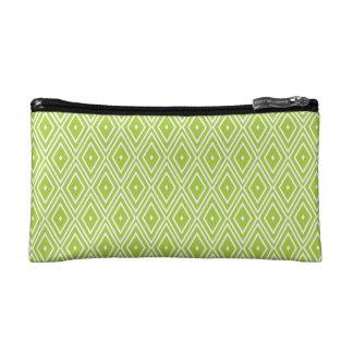 Green and White Diamonds Cosmetic Bag
