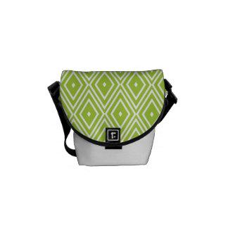Green and White Diamonds Messenger Bag