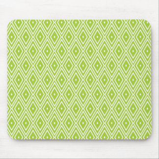 Green and White Diamonds Mouse Pad