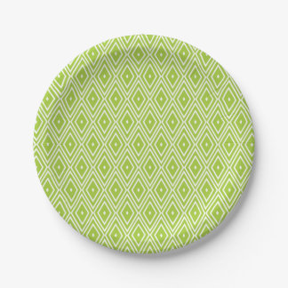 Green and White Diamonds Paper Plate