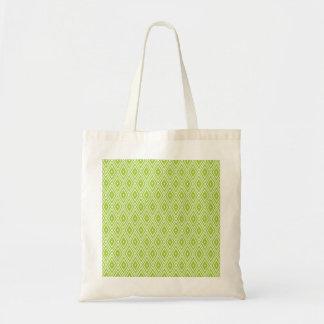 Green and White Diamonds Tote Bag