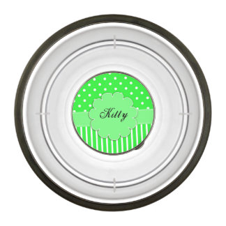 Green and White Dots and Stripes Pet Bowl