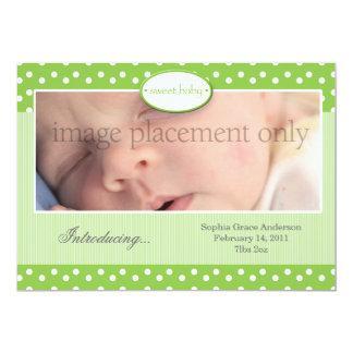 "Green and White Dots Horizontal Birth Announcement 5"" X 7"" Invitation Card"