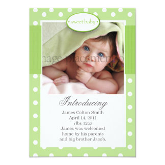 "Green and White Dots Vertical Birth Announcement 5"" X 7"" Invitation Card"