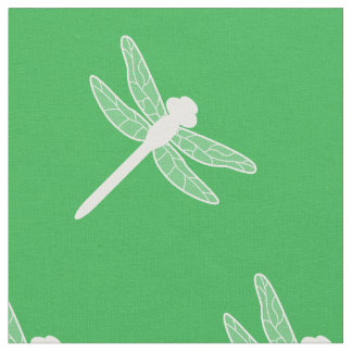 Green And White Dragonfly Silhouette Pattern Fabric