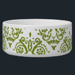 """Green and White Elegant Damask Bowl<br><div class=""""desc"""">This beautiful design features an elegant damask pattern. Look for other great matching products to this in my shop! A perfect gift for anyone who enjoys stylish and chic patterns.</div>"""