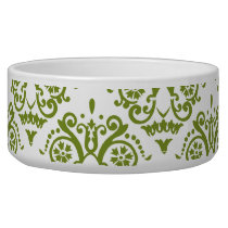 Green and White Elegant Damask Bowl