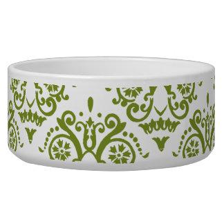 Green and White Elegant Damask Dog Water Bowl