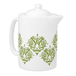 Green and White Elegant Damask Teapot