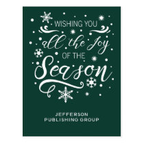 Green and White Elegant Modern Business holiday Postcard