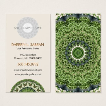Professional Business Green and White Farmers Market Mandala Business Card