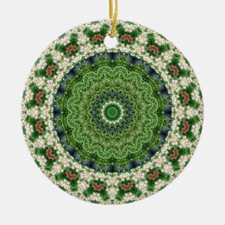 Green and White Farmers Market Mandala Double-Sided Ceramic Round Christmas Ornament