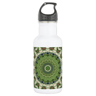 Green and White Farmers Market Mandala (Rect.) Water Bottle