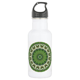 Green and White Farmers Market Mandala Water Bottle