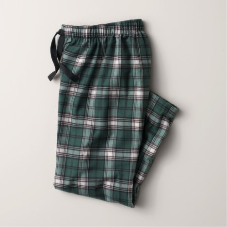 Green and White Flannel Pajama Pants (Youth)