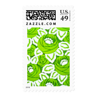 Green and White Floral art Deco Stamps