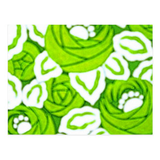 Green and White Floral art Deco Post Card