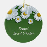 Green and white floral design-retired social worke Double-Sided ceramic round christmas ornament