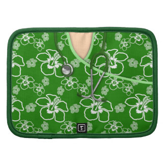 Green And White Floral Medical Scrubs Folio Planner