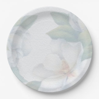 Green and White Floral Pattern Paper Plate