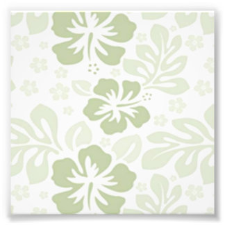 Green and White Floral Pattern Photographic Print
