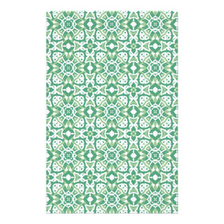 Green and white Floral Pattern Scrapbook Paper Stationery