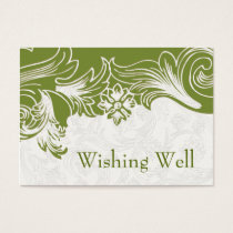 Green and White Floral Spring Wedding Business Card