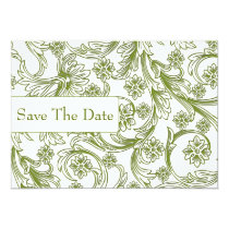 Green and White Floral Spring Wedding Card