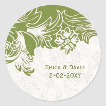 Green and White Floral Spring Wedding Classic Round Sticker