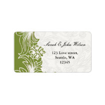 Green and White Floral Spring Wedding Label