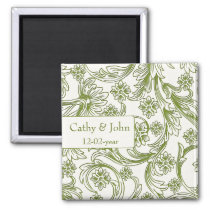 Green and White Floral Spring Wedding Magnet