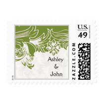 Green and White Floral Spring Wedding Postage