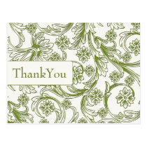 Green and White Floral Spring Wedding Postcard