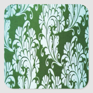 Green and white floral square sticker