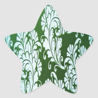 Green and white floral star sticker