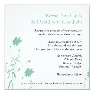 Green and White Floral Wedding Invitation