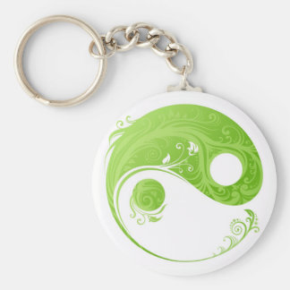 GREEN AND WHITE FLORAL YIN YANG SYMBOL KEY CHAIN