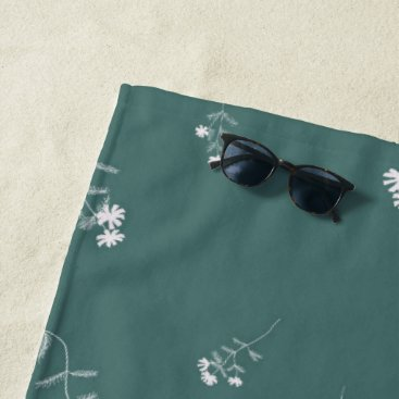 Beach Themed Green and White Flowers Beach Towel