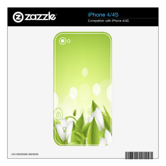 Green and White Flowers Decal For iPhone 4