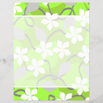 Green and White Flowers. Floral Pattern.