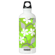 Green and White Flowers. Floral Pattern. Aluminum Water Bottle