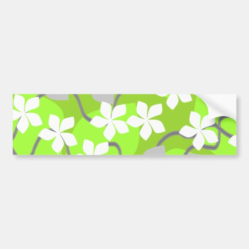 Green and White Flowers. Floral Pattern. Car Bumper Sticker